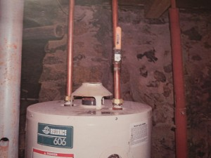 Water heater with missing flue