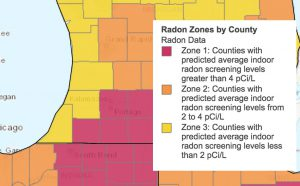 Radon levels map of southwest Michigan counties